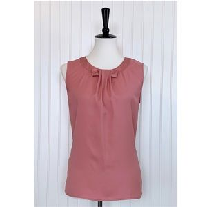 Ann Taylor • Rose Pink Bow Neck Blouse • S
